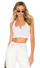 RE DONE Henley Crop Top in Optic White from Revolve com at Revolve