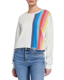 RE DONE Striped Raw-Edge Crewneck Sweatshirt at Neiman Marcus