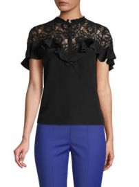 REBECCA TAYLOR - LACE YOKE SILK BLOUSE at Saks Off 5th