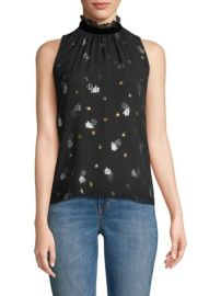 REBECCA TAYLOR - SLEEVELESS METALLIC TULIP BLOUSE at Saks Fifth Avenue