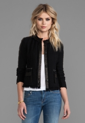 REBECCA TAYLOR Tweed Fitted Blazer in Black at Revolve