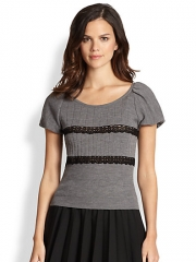 RED Valentino - Lace-Ribbon Wool Sweater at Saks Fifth Avenue