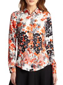 RED Valentino - Silk Abstract-Floral Blouse at Saks Fifth Avenue