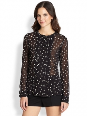 RED Valentino - Silk Long-Sleeve Polka Dot Blouse at Saks Fifth Avenue