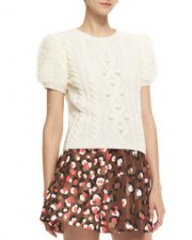 RED Valentino Aran Short-Sleeve Cable-Knit Pullover at Neiman Marcus