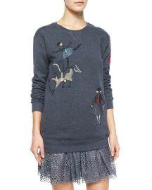 RED Valentino Circus Embroidered Sweatshirt at Neiman Marcus