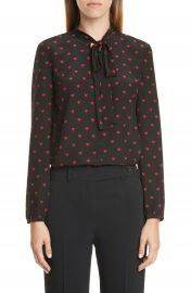 RED Valentino Heart Print Tie Neck Silk Top   Nordstrom at Nordstrom