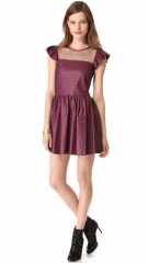 RED Valentino Leather andamp Point dand039Esprit Dress at Shopbop