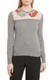 RED Valentino Macram     Floral Embellished Wool Sweater at Nordstrom