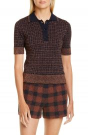 RED Valentino Metallic Check Polo Sweater   Nordstrom at Nordstrom