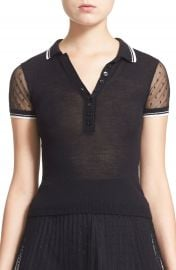 RED Valentino Point d Esprit Knit Polo Top at Nordstrom