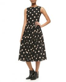 RED Valentino Polka Dot Fit and Flare Dress at Neiman Marcus
