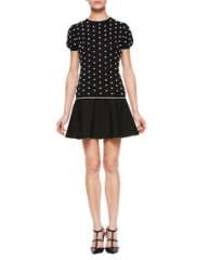 RED Valentino Polka Dot Knit Top and Tech Cady Full Skirt at Neiman Marcus