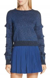 RED Valentino Ruffle Sleeve Metallic Wool Blend Sweater   Nordstrom at Nordstrom