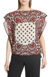 RED Valentino Scarf Print Silk Top at Nordstrom Rack