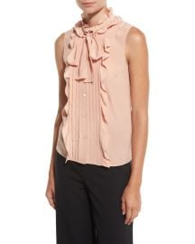 RED Valentino Sleeveless Pintucked   Ruffled Tie-Neck Silk Blouse  Nude at Neiman Marcus