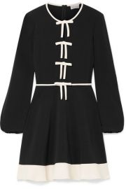 REDValentino   Bow-embellished stretch-crepe mini dress at Net A Porter