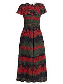 REDValentino - Floral A-Line Midi Dress at Saks Fifth Avenue