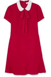 REDValentino - Pussy-bow crepe de chine mini dress at Net A Porter
