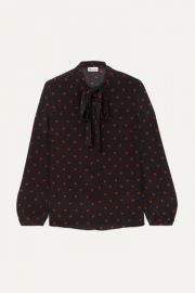 REDValentino - Pussy-bow printed silk crepe de chine blouse at Net A Porter