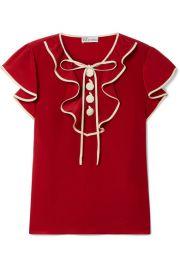 REDValentino - Ruffled silk crepe de chine blouse at Net A Porter