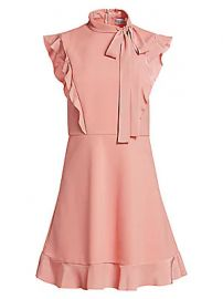 REDValentino - Tie Neck Fit-And-Flare Dress at Saks Fifth Avenue
