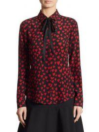 REDValentino - Tie-Neck Heart-Print Silk Blouse at Saks Fifth Avenue