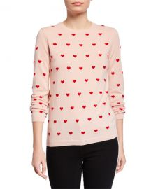 REDValentino Heart Print Long-Sleeve Sweater at Neiman Marcus