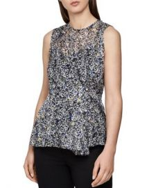 REISS Harley Burnout Ditsy-Print Blouse  Women - Bloomingdale s at Bloomingdales