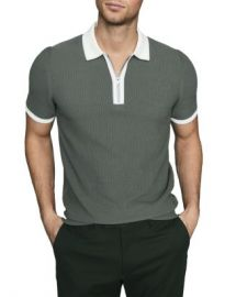 REISS Tobago Cotton Textured Tipped Zip Polo Men - Bloomingdale s at Bloomingdales
