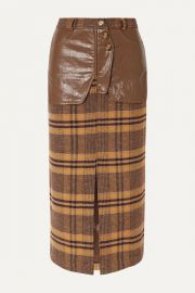 REJINA PYO - Maggie checked wool and faux leather midi skirt at Net A Porter