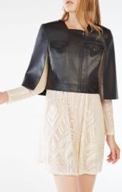 RICHIE CROPPED FAUX-LEATHER CAPE at Bcbg