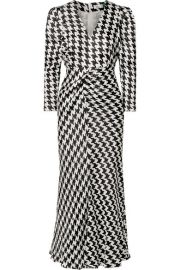 RIXO - Ziggy gathered houndstooth satin midi dress at Net A Porter