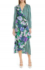 RIXO Betty Floral  amp  Houndstooth Print Wrap Dress   Nordstrom at Nordstrom
