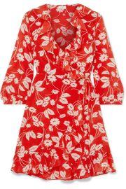 RIXO London   Abigail floral-print silk-crepe wrap dress at Net A Porter