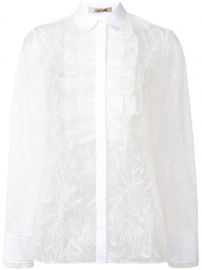 ROBERTO CAVALLI RUFFLE FRONT LACE SHIRT - WHITE at Farfetch