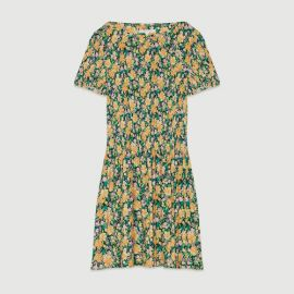 ROCKINIE Pleated dress in floral print at Maje