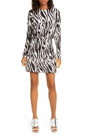 ROTATE Alina Zebra Print Long Sleeve Minidress   Nordstrom at Nordstrom