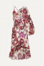 ROTATE Birger Christensen - Asymmetric ruffled floral-print crepe wrap dress at Net A Porter