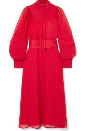 ROTATE Birger Christensen - Belted fil coup   chiffon midi dress at Net A Porter