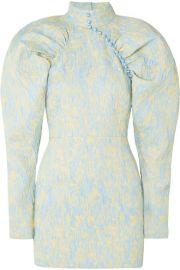 ROTATE Birger Christensen - Button-detailed crinkled-jacquard mini dress at Net A Porter