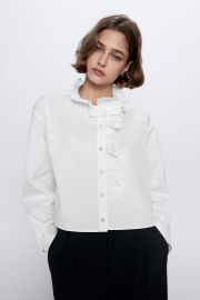 RUFFLED JEWEL BUTTON TOP at Zara