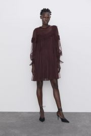 RUFFLED TULLE DRESS at Zara