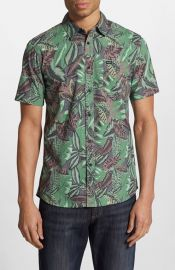 RVCA and39Jungle Leavesand39 Regular Fit Short Sleeve Print Woven Shirts at Nordstrom