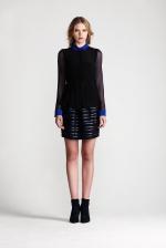 Rachel Bilsons blue and black shirt at Jonathansimkhai