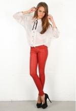 Rachel Bilsons red leather pants at Singer 22