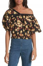 Rachel Comey Delirium Silk  amp  Stretch Cotton Off the Shoulder Top at Nordstrom