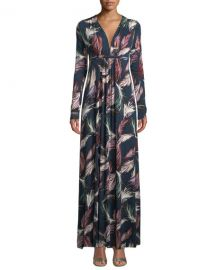 Rachel Pally Plus Size Long-Sleeve Feather-Print Long Caftan Dress at Neiman Marcus