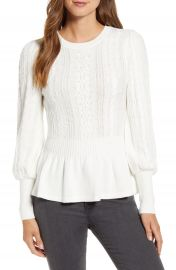 Rachel Parcell Cable Bobble Peplum Cotton Blend Sweater  Nordstrom Exclusive    Nordstrom at Nordstrom
