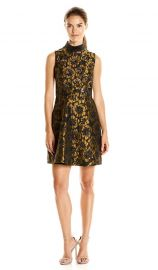 Rachel Rachel Roy  Mock Neck Metallic Jacquard Fit and Flare Dress at Amazon